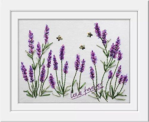 Ribbon Embroidery Kit For Beginner Flower Design DIY Home Wall Decor Lanvender