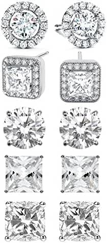 SPECIAL OFFER: 5-Piece Womens Classic Cubic Zirconia Stud Earrings Set