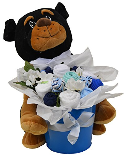 Baby Blossom Clothing Bouquet Gift With Plush Dog - Boy