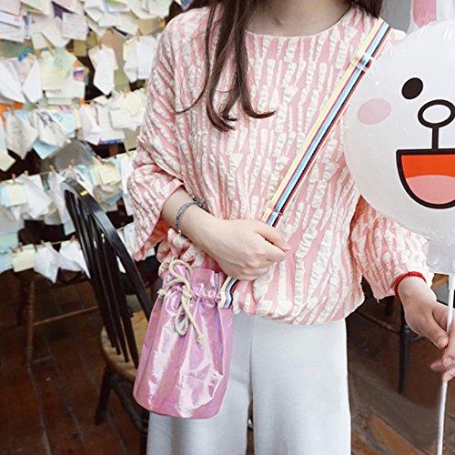 Pink body Holographic Bag Pouch Mini Monique Bucket Cross Cellphone Satchel Colorful Drawstring Bag Women f8wZqOx1