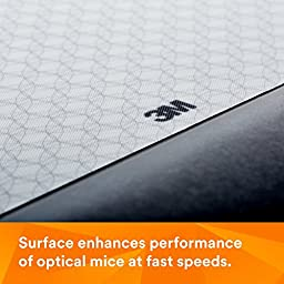 3M Precise Mouse Pad with Gel Wrist Rest, Optical Mouse Performance, Battery Saving Design, Gel Comfort, Black (MW85B)