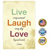 ZENDORI POSTER 'Live Laugh Love' Poster Print on Canvas Paper (No Frame) - French Country Decor - Made In USA - 12' x 18' Christmas Gift