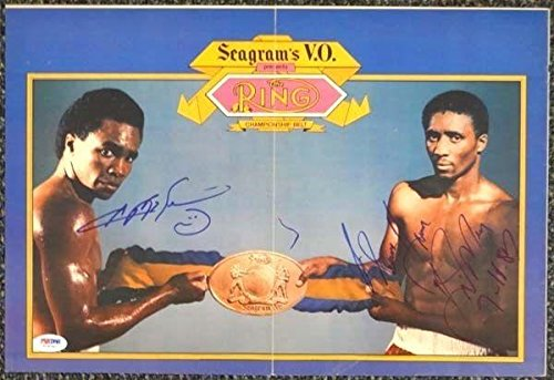 Poster Ray Mill (Signed Sugar Ray Leonard Picture - & Hearns Poster #T19790 - PSA/DNA Certified - Autographed Boxing)
