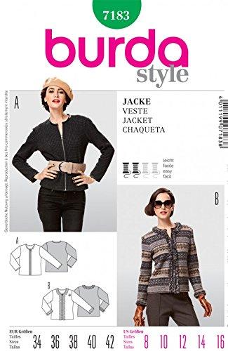Burda Damen Schnittmuster 7183 – Casual Jacken Größen: 8–16: Amazon ...