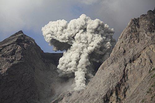 Posterazzi November 27 2012-Ash Cloud from strombolian Eruption Rising from Active Crater of Batu Tara Volcano Komba Island Indonesia. Poster Print (17 x 11)