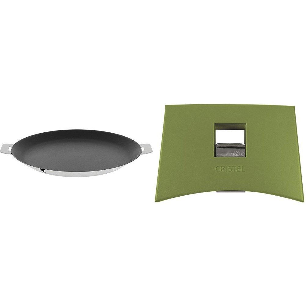 Cristel CR30QE Non-Stick Crepe Pan, Silver, 12'' with Cristel Mutine Plmavt Side Handle, Green