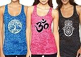 Yoga, Aum, Om, Ohm, India Symbol Burnout Racerback Tank Top (Medium, Fun Pack M9)