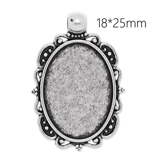 - New Style Antique Silver Plated Lace Edge Pendant Trays with 18x25mm Oval Blank Bezel-20pcs/lot