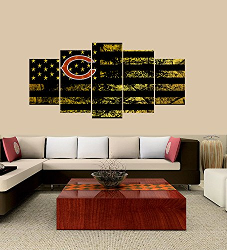 PEACOCK JEWELS [LARGE] Premium Quality Canvas Printed Wall Art Poster 5 Pieces / 5 Pannel Wall Decor Chicago Bears logo Painting, Home Decor Football Sport Pictures- Stretched by PEACOCK JEWELS