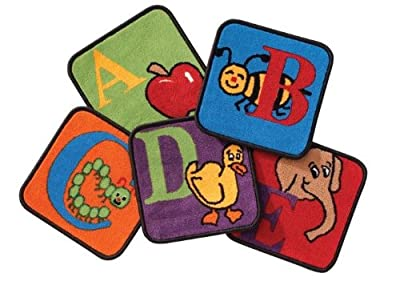 "Reading by the Book Alphabet Rug Squares (Set of 26) Rug Size: Square 12"" x 12"""