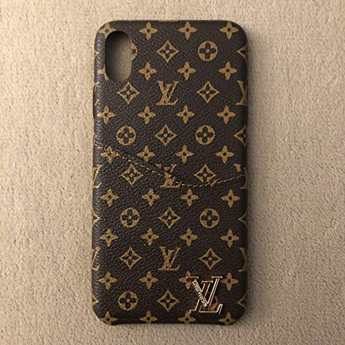 Wallet Leather Case Luxury Fashion Designer Monogram Pattern Inspired Compatible for iPhone Xs Max ()