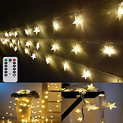 Amazon.com : Indoor Party Star LED String Lights Battery Powered 16 ...