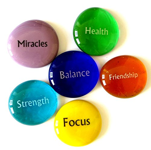 Lifeforce Glass Focus Stones, 6 Inspiring, Encouraging and Motivating Single Words Imprinted on Glass Stones, Inc. Set ()