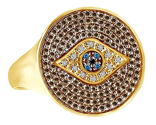 AFFY Round Cut Simulated Blue Sapphire Natural Diamond Evil Eye Circle Ring in 14K Solid Yellow Gold (Round Cut Natural Sapphire)