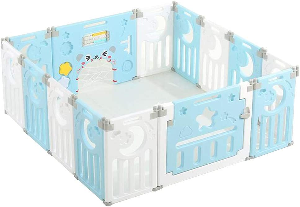 Playpen for Baby Kids and Toddlers, Kids Activity Centre IndooSafety Baby Fence, Non-Slip Rubber Base, Foldable Easy Assembled Gift (with Crawling Mat)