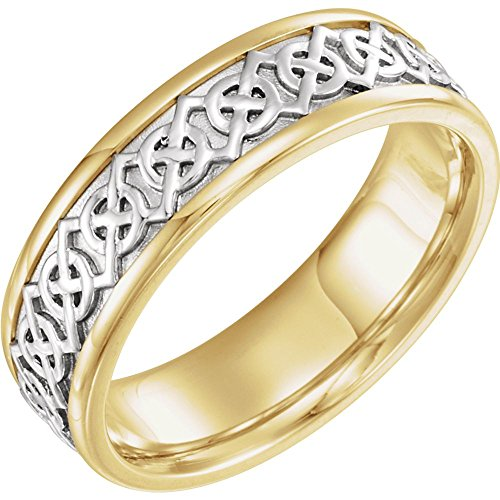 Yellow Gold Bridal Celtic Band - White-and-yellow-gold Two Tone Bridal Celtic Band