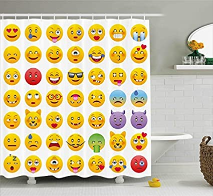 Ambesonne Emoji Shower Curtain Cartoon Like Smiley Faces Of Mosters Happy Sad Angry Furious Moods