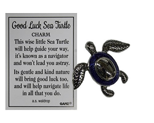 Good Luck Turtle (Ganz Good Luck Sea Turtle Pocket Charm with Story Card (Royal))