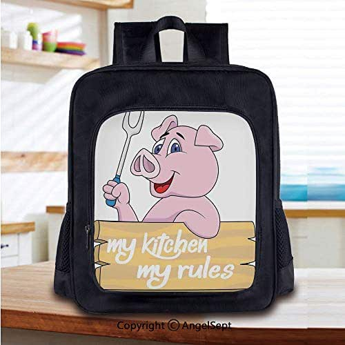 Kids Backpack Children Bookbag Pig Chef Holding BBQ Barbeque Fork Tongs Fast Food Mascot Character Grill Wood Menu Preschool Kindergarten Elementary School Travel Bag for Girls Boys,Pink White