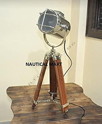 Marine Nautical Tripod Floor Lamp, Nautical Search Light - Vintage Industrial Table Lamp