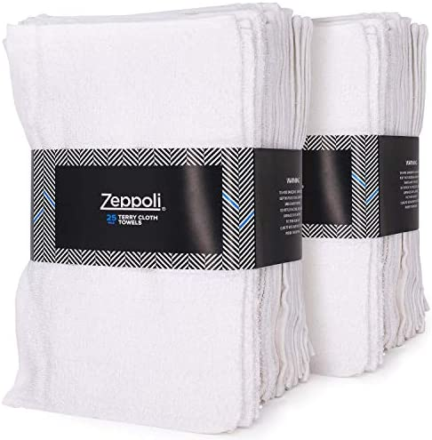 Zeppoli Auto Shop & Car Wash Towels - 36 Pack - 100% Pure White Cotton - 14 x 17 Inches Commercial Grade and Absorbent - Can be Used for Drying, Home Cleaning, or Bathroom Wash Cloths
