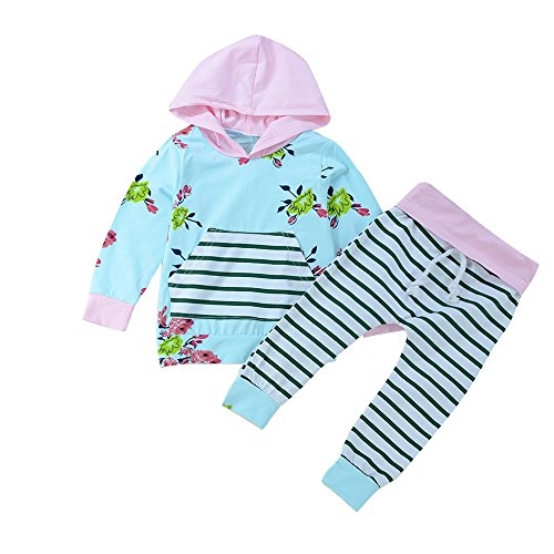 Baby Girl 2pcs Set Outfit Flower Print Hoodies with Pocket Top+Striped Long Pants (Label 80 / 6-12mos., Sky Blue)