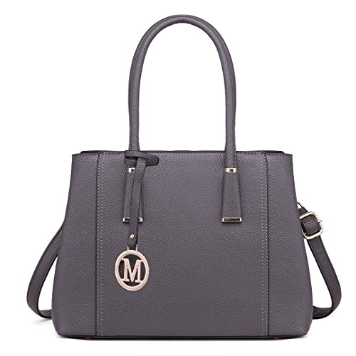1748 V Miss Design Elegant Women Fashion Top Leather Look Handle Shape Lulu for Handbag Handbags Grey Shoulder trqZr4f