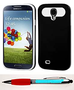Accessory Factory(TM) Bundle (Phone Case, 2in1 Stylus Point Pen) SAMSUNG Galaxy S 4 (I337 L720 M919 I545 R970 I9505 I9500) Black White Card Wallet Back Protector Cover