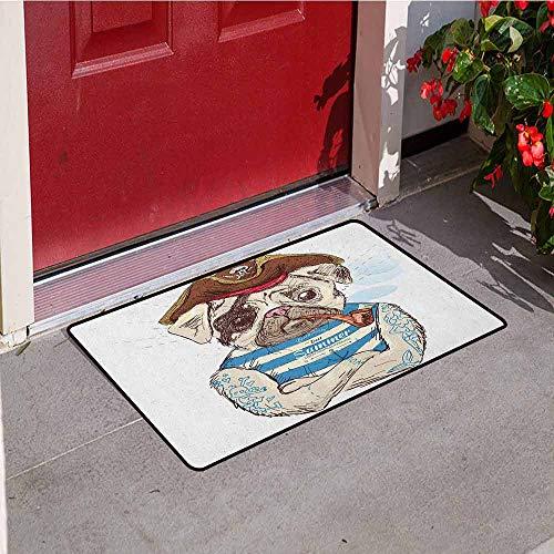 GloriaJohnson Pug Commercial Grade Entrance mat Pirate