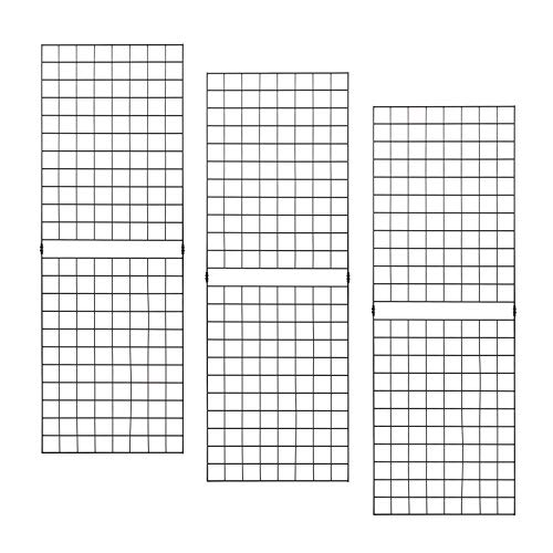 Grid Panels - Econoco Durable Grid Shelves - Portable Fixtures for Art, Retail Display, or Home Storage- 2 ft x 6 ft - Pack of 3 (Black)