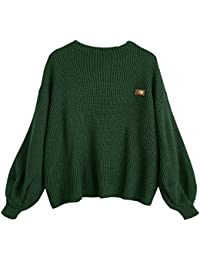 Women's Lantern Sleeve Chevron Patches Oversized Pullover Knit Sweater