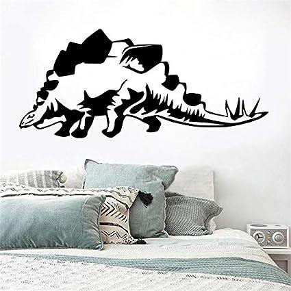 mlpnko Extraíble Mural Cartón Decoración Calcomanía Stegosaurus Dinosaurio Etiqueta de La Pared Vinilo85X43cm