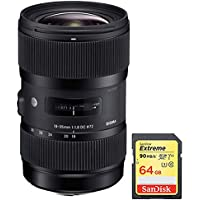 Sigma AF 18-35mm f/1.8 DC HSM Lens for Nikon includes Bonus Sandisk 64GB Memory Card