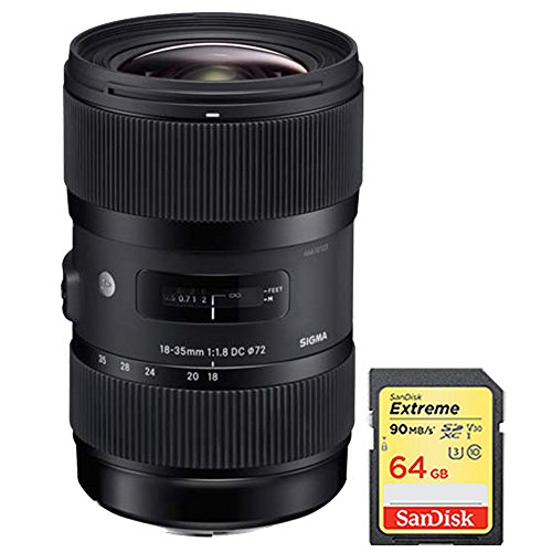 Sigma AF 18-35mm f/1.8 DC HSM Lens for Nikon includes Bonus Sandisk 64GB Memory Card by Beach Camera