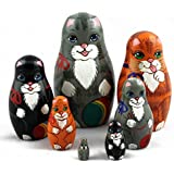Cats Matryoshka Russian Handmade Wooden Nesting Stacking Dolls Animals Pets Art Crafts Gifts 7pc
