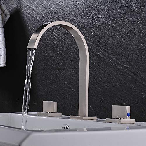 Rozin Brushed Nickel Widespread 3pcs Bathroom Sink Faucet