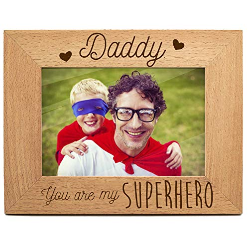 yuzi-n Super Hero Dad Photo Frame Gift for New Dad Love Daddy Picture Frame Dad from Son - Engraved Natural Solid Wood Picture Frame (4x6-Horizontal) (Daddy Photo Frame)