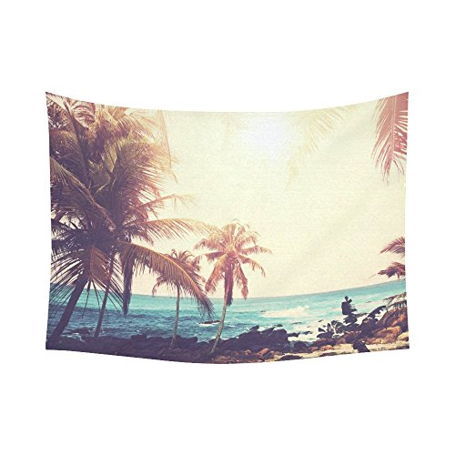 Interestprint Tropical Palm Coconut Tree Nature Sea Ocean Hawaii Beach Scenic Tapestry Wall Hanging Summer Paradise Wall Decor Art for Living Room Bedroom Dorm Cotton Linen Decoration 80 X 60 Inches