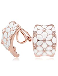 Kemstone Rose Gold White Enamel Flower Clip On Earrings for Women