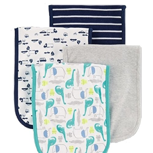 Carter's Baby Boys' Burp Cloths - Pack of 4 - Teal, Blue Gray