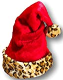 Christmas House Red Plush Santa Hat With Faux Fur Leopard Cuff