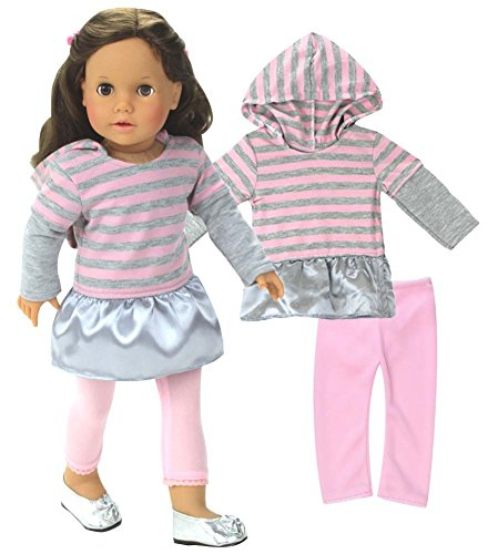 - American Doll Outfit 18 Inch Doll Clothes 2 Pc. Set, Fits 18 Inch American Girl Dolls & More! (Shoes Sold Separately) Stylish Pink and Gray Stripe Dress/Hoodie & Pink Leggings