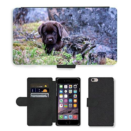 "Just Phone Cases PU Leather Flip Custodia Protettiva Case Cover per // M00128242 Puppy Dog Summer // Apple iPhone 6 PLUS 5.5"""