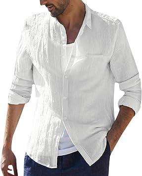 ღLILICATღ Hombre Camisa de algodón y Lino de Manga Larga Transpirable Camisetas Retro holgadas de Color sólido Camisa Casual Botón Bolsillo de Collar de pie Tallas Grandes Camisa de Playa Tops Blusa: