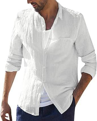 Camisa Hombre, Verano Algodón y Lino Manga Larga Color sólido ...