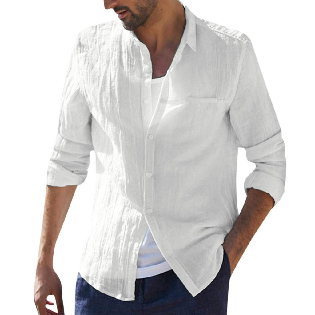 Cotton Linen Shirt Men ♣ Male Baggy Long Sleeve T Shirts Tops Button Retro Blouse Dress Shirt