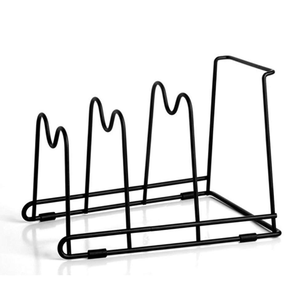 4 Tier Kitchen Cabinet Pantry and Bakeware Organizer Rack Holder,Stainless Steel Pan Pot Organizer Pot Lid Holder Houseware Standing Storage Shelf (Black)