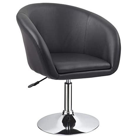 Amazing Duhome Jumbo Size Luxury Pu Leather Contemporary Round Swivel Accent Chair Tufted Adjustable Lounge Pub Bar Black Ncnpc Chair Design For Home Ncnpcorg