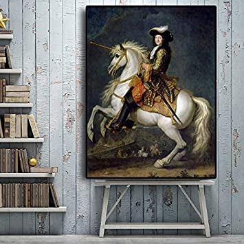 YHZSML Rey francés Luis XV con Retrato de Caballo Pintura al óleo sobre Lienzo Carteles e Impresiones Arte escandinavo Cuadro de Pared para Sala de Estar 50x70cm