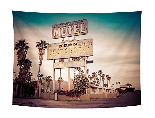 Roslynwood Americana Decor Collection, Historic U.S 66 Route Sign Roadway Driving Roadside Scenery , Bedroom Living Room Dorm Wall Hanging Tapestry (66 Tapestry Route)